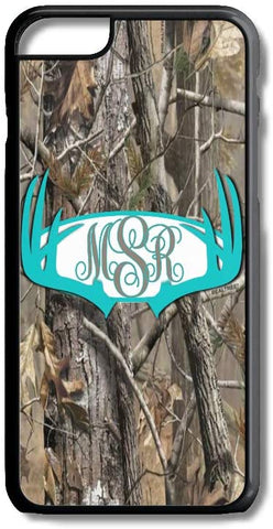 Aqua Antlers Camo Custom Monogram for iPhone Case Cover 5/5S/SE/6/6S 6/6S 7 8 Plus X XS TPU (6/6S Black Rubber TPU)