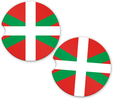 Basque Flag Custom Car Coasters Cup Holder Matching Coaster Set