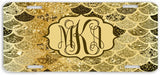BrownInnovativeMedia Gold Mermaid Scales Glitter Look Print Monogram Personalized Custom Initials License Plate Car Tag