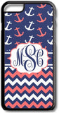 Coral Navy Anchors Chevrons Custom Monogram for iPhone Case Cover 5/5S/SE/6/6S 6/6S 7 8 Plus X XS TPU