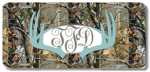 BrownInnovativeMedia Blue Monogrammed Deer Antlers Camo Print Monogrammed Personalized Custom Initials License Plate Car Tag