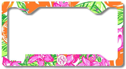 Hot Pink Lime Orange Tropical Print Monogram Personalized Custom Initials License Plate Frame Car Tag
