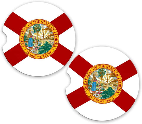 BrownInnovativeMedia Florida State Flag Custom Car Coasters Cup Holder Matching Coaster Set