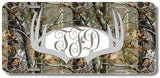 Gray Monogrammed Deer Antlers Camo Print Monogrammed Personalized Custom Initials License Plate Car Tag