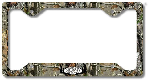 BrownInnovativeMedia Black Monogram Deer Antlers Camo Personalized Custom Initials License Plate Frame Car Tag