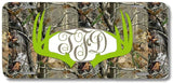 BrownInnovativeMedia Green Monogrammed Deer Antlers Camo Print Monogrammed Personalized Custom Initials License Plate Car Tag