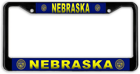Nebraska #3 State Flag Black Metal Car Auto License Plate Frame Holder Black