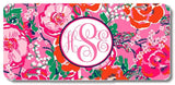 Red Pink Floral Print Monogrammed Personalized Custom Initials License Plate Car Tag