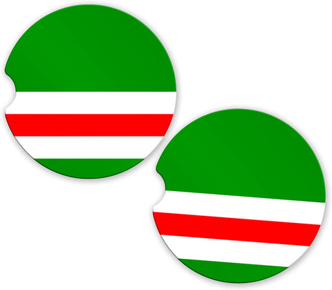 Chechnya Flag Custom Car Coasters Cup Holder Matching Coaster Set