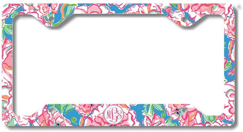 BrownInnovativeMedia Floral Blue Print Monogram Personalized Custom Initials License Plate Frame Car Tag
