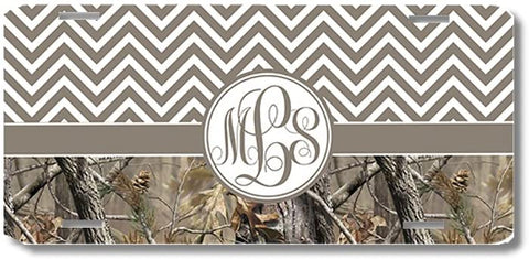 Brown Monogrammed Chevron Camo Print Monogrammed Personalized Custom Initials License Plate Car Tag