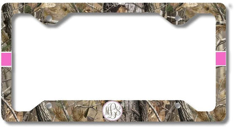 Brown Camo Hot Pink Ribbon Print Monogram Personalized Custom Initials License Plate Frame Car Tag