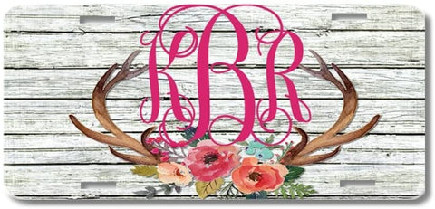 BrownInnovativeMedia White Wood Antlers Watercolor Flowers Floral Print Monogram Personalized Custom Initials License Plate Car Tag