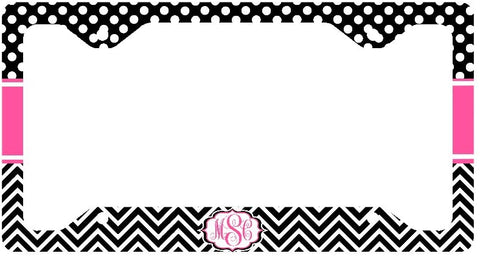 Hot Pink Polka Dots Black Chevron Print Monogram Personalized Custom Initials License Plate Frame Car Tag