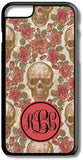Vintage Red Roses Skulls Custom Monogram for iPhone Case Cover 5/5S/SE/6/6S 6/6S 7 8 Plus X XS TPU