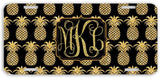 BrownInnovativeMedia Black Gold Pineapples Print Monogrammed Personalized Custom Initials License Plate Car Tag