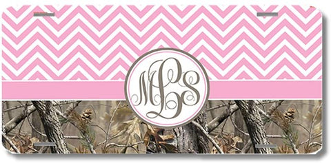 Pink Monogrammed Chevron Camo Print Monogrammed Personalized Custom Initials License Plate Car Tag