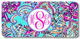 Aqua Paisley Pink Purple Print Monogrammed Personalized Custom Initials License Plate Car Tag