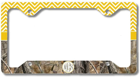 Yellow Monogram Chevron Camo Print Personalized Custom Initials License Plate Frame Car Tag