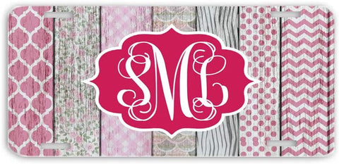 BrownInnovativeMedia White Wood Pink Patterns Distressed Print Monogrammed Personalized Custom Initials License Plate Car Tag