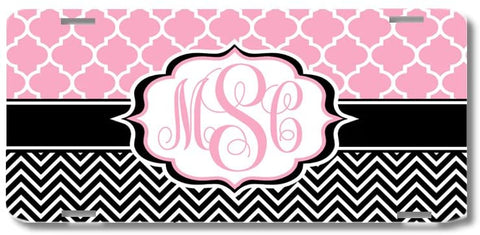 Pink Lattice Black Chevron Print Monogrammed Personalized Custom Initials License Plate Car Tag
