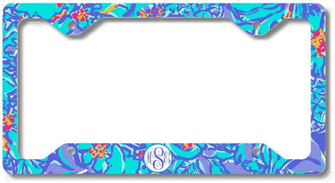 Blue Tropical Floral Print Monogram Personalized Custom Initials License Plate Frame Car Tag