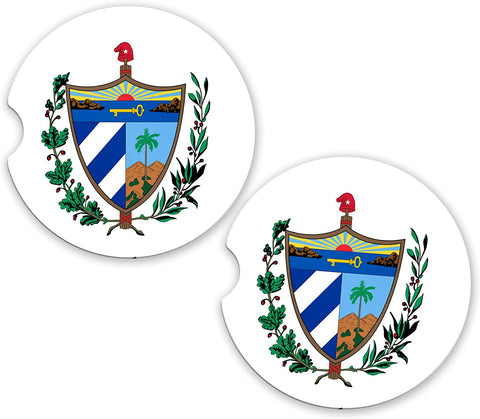 Cuba World Flag Coat Of Arms Sandstone Car Cup Holder Matching Coaster Set