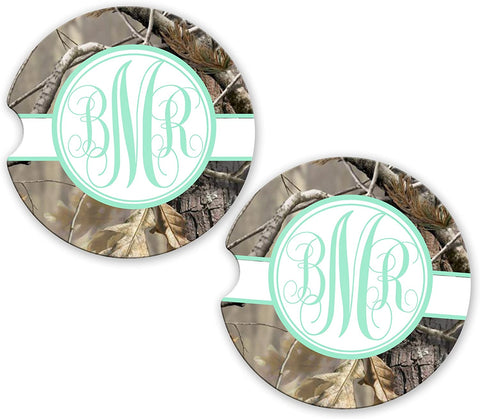 BrownInnovativeMedia Mint Olive Ribbon Camo Personalized Monogram Sandstone Car Cup Holder Matching Coaster Set