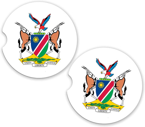 BrownInnovativeMedia Namibia World Flag Coat Of Arms Sandstone Car Cup Holder Matching Coaster Set
