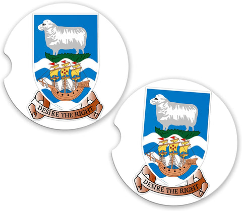 Falkland Islands World Flag Coat Of Arms Sandstone Car Cup Holder Matching Coaster Set