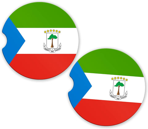 Equatorial Guinea Flag Custom Car Coasters Cup Holder Matching Coaster Set