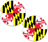 BrownInnovativeMedia Maryland State Flag Custom Car Coasters Cup Holder Matching Coaster Set