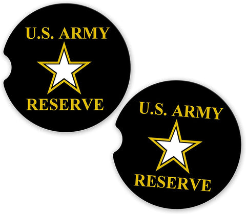 BrownInnovativeMedia US Army Reserve Military Car Sandstone Car Cup Holder Matching Coaster Set