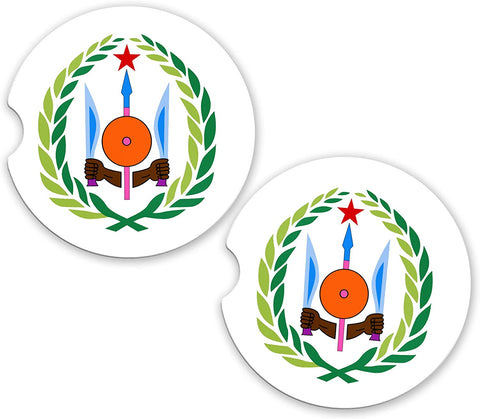 Djibouti World Flag Coat Of Arms Sandstone Car Cup Holder Matching Coaster Set
