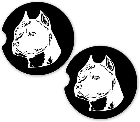 Pit Bull Dog Head Love Sandstone Car Cup Holder Matching Coaster Set