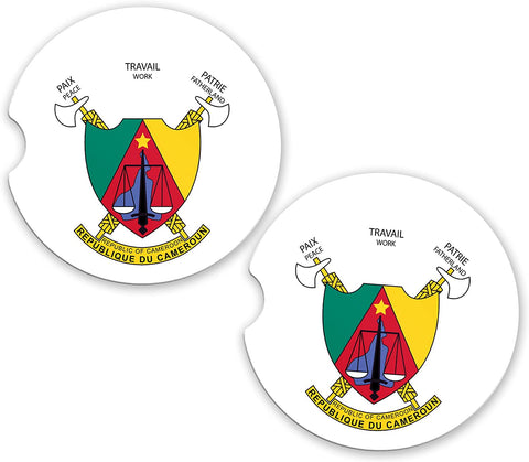 Cameroon World Flag Coat Of Arms Sandstone Car Cup Holder Matching Coaster Set