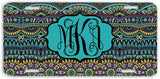BrownInnovativeMedia Blue Yellow Aztec Tribal Print Monogram Personalized Custom Initials License Plate Car Tag