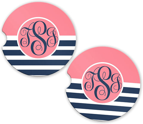 BrownInnovativeMedia Coral Navy Stripe Personalized Monogram Sandstone Car Cup Holder Matching Coaster Set
