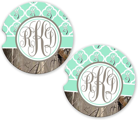 BrownInnovativeMedia Mint Monogram Quatrefoil Buck Deer Head Camo Cup Holder Matching Coaster Set