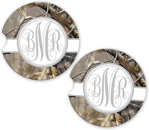 BrownInnovativeMedia Gray Ribbon Camo Personalized Monogram Sandstone Car Cup Holder Matching Coaster Set