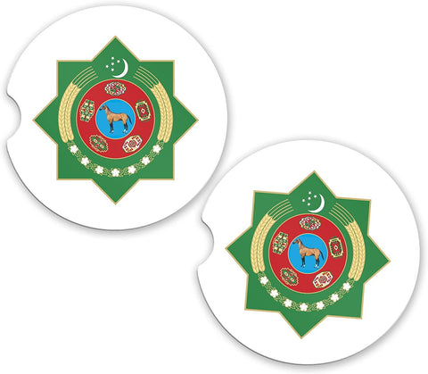 Turkmenistan World Flag Coat Arms Sandstone Car Cup Holder Matching Coaster Set