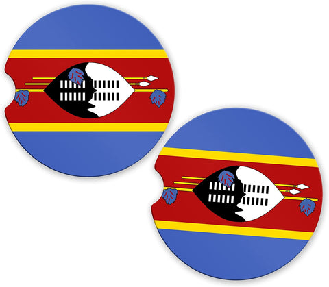 Swaziland Flag Custom Car Coasters Cup Holder Matching Coaster Set