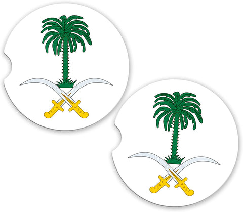 Saudi Arabia World Flag Coat Arms Sandstone Car Cup Holder Matching Coaster Set