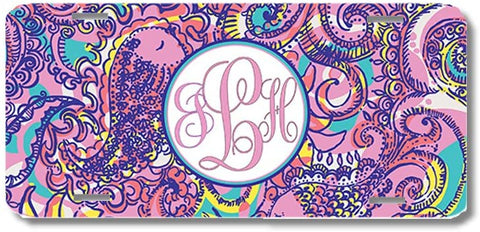 Purple Teal Paisley Print Monogrammed Personalized Custom Initials License Plate Car Tag