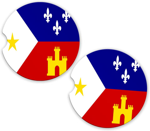 Acadian Flag Custom Car Coasters Cup Holder Matching Coaster Set