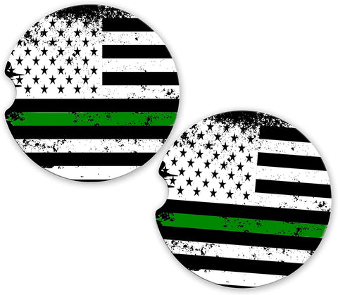 Thin Green Line Distressed Support Military Personnel USA Flag Custom Car Coasters Cup Holder