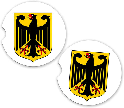 Deutschland Germany German World Flag Coat Arms Sandstone Car Cup Holder Matching Coaster Set
