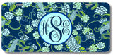 Navy Blue Koi Fish Paisley Print Monogrammed Personalized Custom Initials License Plate Car Tag