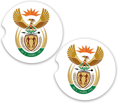 South Africa World Flag Coat Arms Sandstone Car Cup Holder Matching Coaster Set