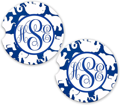 BrownInnovativeMedia Blue White Elephants Monogram Sandstone Cup Holder Matching Coaster Set